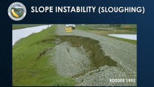 picture of hillside sloughing, road breaking up