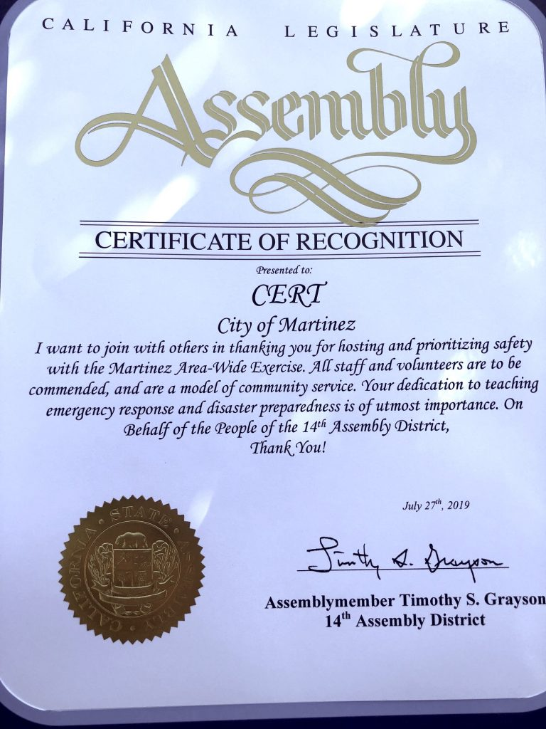 Certificate of Recognition from California Legislative Assemblymember Grayson